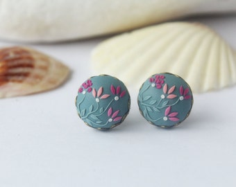 Grey pink stud earrings, Pink studs, pink grey, pink flower, floral studs, tiny earrings Women floral earring Birthday gift for Her