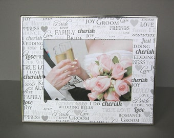 Wedding Photo Mat, 8x10 Decorated Mat, Romantic Words in Gray