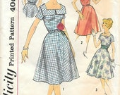 Size 14 UNCUT-Simplicity 3044 1950s Square Neck SunDress Vintage Sewing Pattern Bust 34