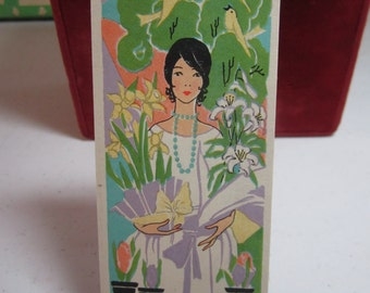 Unused art deco 1930's easter bridge tally pretty lady in white dress holds lilies,daffodils,potted tulips 3 yellow birds singing on a tree