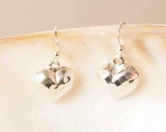 Silver Earrings, Sterling Silver Drop Earrings, Hammered Silver Earrings, Sterling Silver Heart Earrings, UK Seller, Hammered Heart
