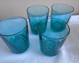 turquoise glass tumblers