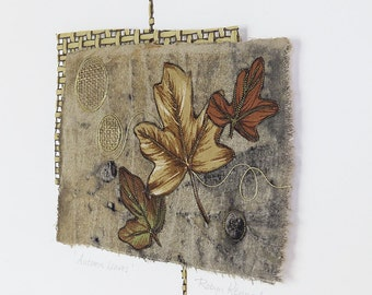Wall art nature earthy autumn colours, leaves, textural art wall hanging, original textile art rust gold oatmeal - Autumn Leaves