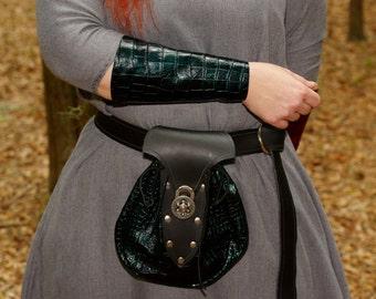 Large Renaissance Leather Belt Bag Green Scales