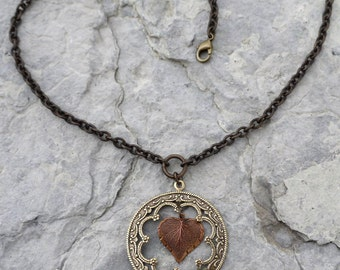 Scrollwork with Copper Leaf Necklace