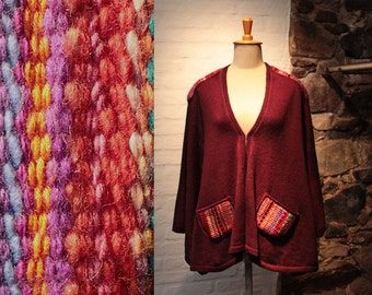 Burgundy Cape, Poncho with colorful weaving, Colorful Wrap, Hand knitted poncho, Festival Poncho, Burgundy Capelet, Poncho burgundy