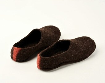 Summer Sale Handmade wool felted house shoes  with rubber soles