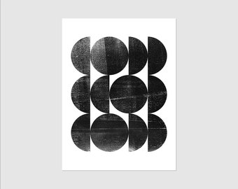 Mid Century Modern Decor - Black & White Art - Scandinavian Art - Geometric Print - Abstract Art - Framed or Unframed Wall Art Print