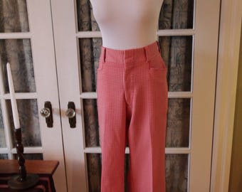 1970's Red and White Checked Bellbottom Pants