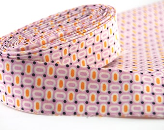 """Quilt Binding; Double Fold Binding ready to use; lavendar purple orange 30's reproduction, Cut at 2 1/2"""" and folded to 1 1/4"""""""