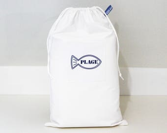 Applied Beach stitched - lined with white cotton pouch storage for shoes or clothes-