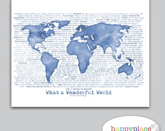 Wonderful world map poster art artistic world map large watercolour world map typography created in shades of blue to suit decor printable gumiabroncs Images