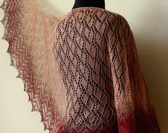 Hand knit linen shawl - ellegant wrap - latte+cherry+chocolate colors