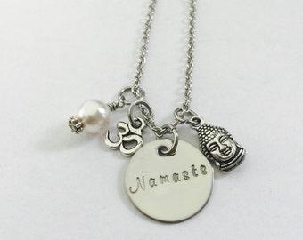 Namaste Hand Stamped Stainless Steel Necklace-Buddha Charm- Om Charm-Yoga Necklace- Spiritual-Peaceful-Mindfulness-Meditation-Soul-Mind