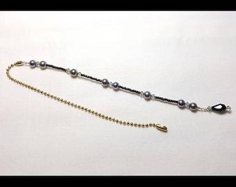 Black Diamond Crystal Beaded Fan Pull Brass Chain