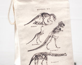 Dinosaur Bones Reusable Lunch Bag | T-rex, brontosaurus, Paleontology Vintage Reptiles, Recycled Canvas, Science Gift, Nerdy Gift