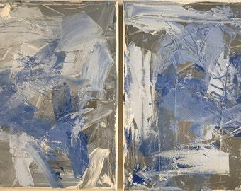 Grey and Blue Diptych Painting