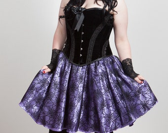 Spider Web Lace & Satin Full Circle Skirt, any size, many colours.