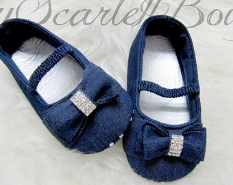 Infant Baby Girl Soft Sole Shoes Toddler Bowknot Crib Shoes Denim Prewalker