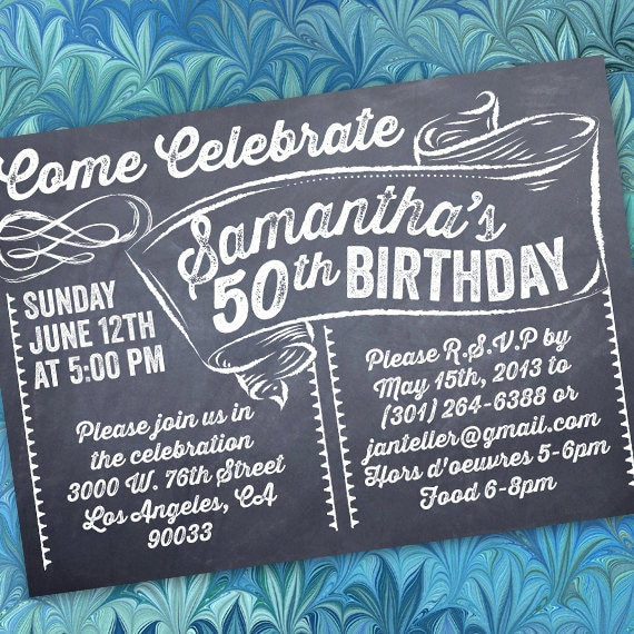 birthday party invitations, 50th birthday party invitations, chalkboard birthday party invitations, birthday party ideas, IN209