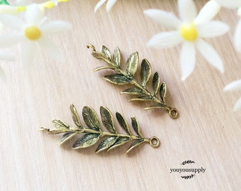 Clearance-2pcs Brass Leafy Branch Conector Charm- Olive Branch