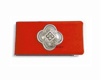 Quaterfoil Metal Money Clip Inlaid in Hand Painted Enamel Orange Opaque Glossy Finish Architecural Design Personalized and Color Options