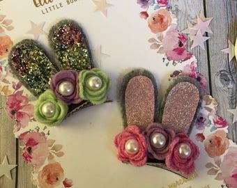 SALE Pink/Green Bunny Ears