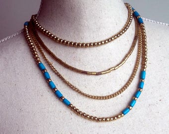 Boho chic golden beaded strand collier, Turquoise and golden beads layered necklace