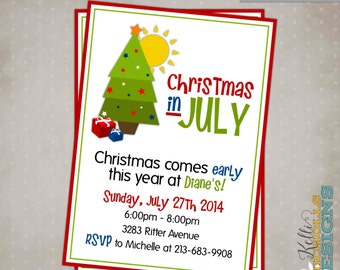 Printable Christmas in July Party Invitation