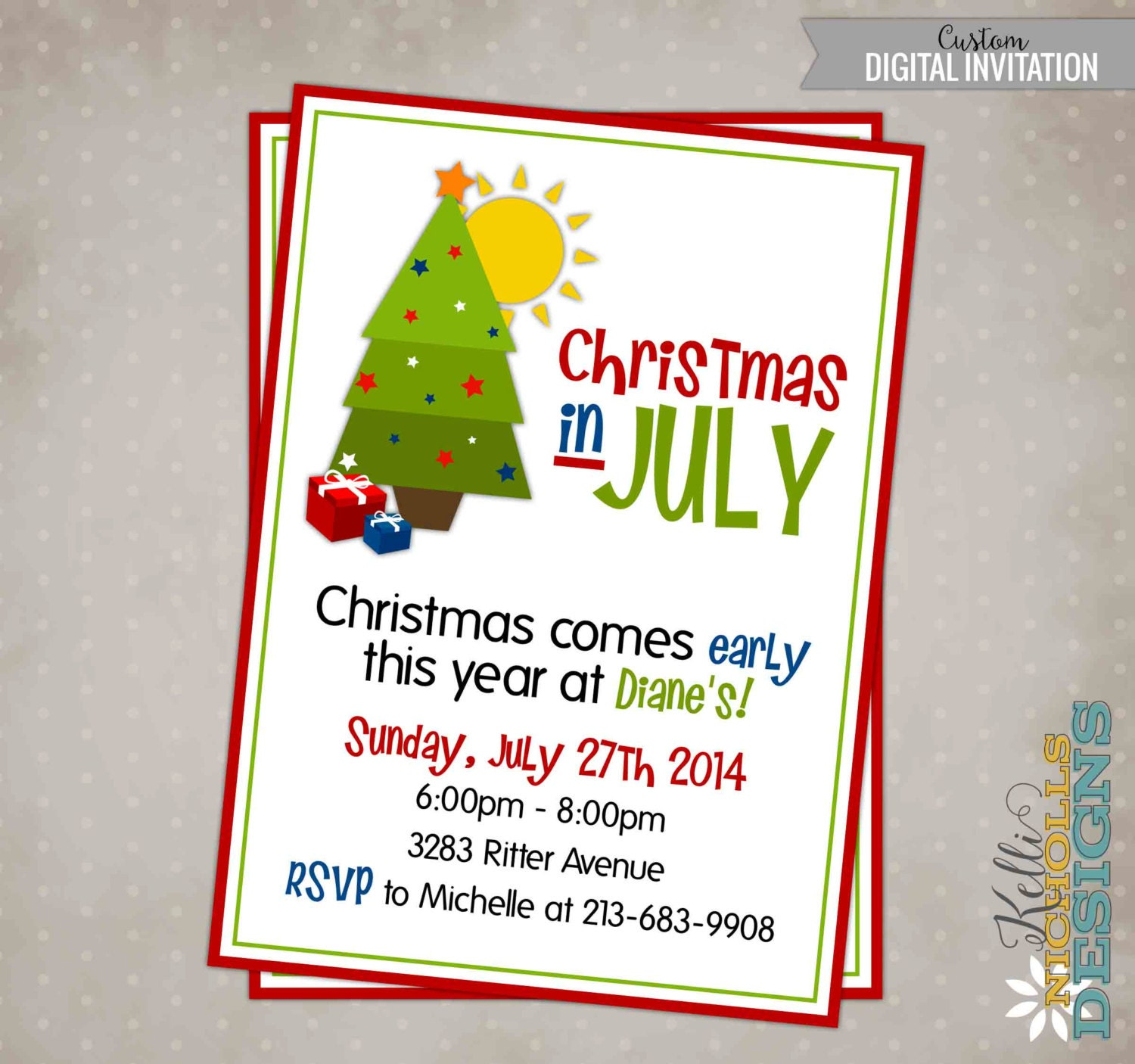 Printable christmas in july party invitation zoom kristyandbryce Images