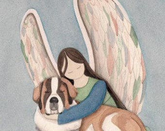 St. Bernard with angel / Lynch signed folk art print