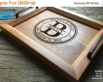 SUMMER SALE - 10% OFF Personalized Wood Tray, Engraved Serving Tray - Wedding Gift, Housewarming Gift, Anniversary Gift