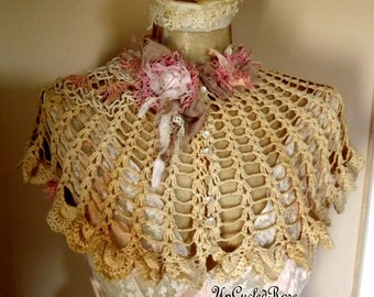 Lilian's  French Evening Shrug Tea Stained Tattered Torn Romance Wearable Art Free Shipping in United States