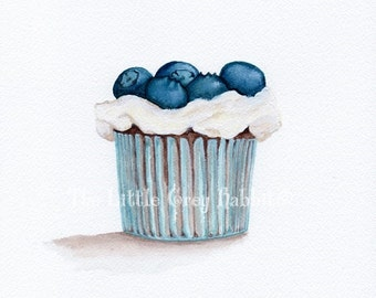Cupcake Print, Watercolor Print, Dessert Art, Blueberry Print, Kitchen Decor, Food Art, Kitchen Art, Cupcake Art, Blue And White Decor