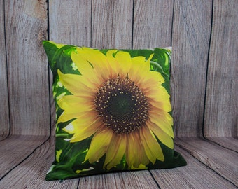 Sunflower Yellow Cushion Cover, Photo Pillow Case, Country Chic Decor, Freesia, Summer Home Style, Fresh Look, For Sofa, Lounge Chair, Bed