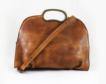 Valerie - Distressed leather top handle bag for women, distressed top grain leather, real leather bag gift