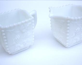 Westmoreland Milk Glass Beaded panel Grape Cream & Sugar Set