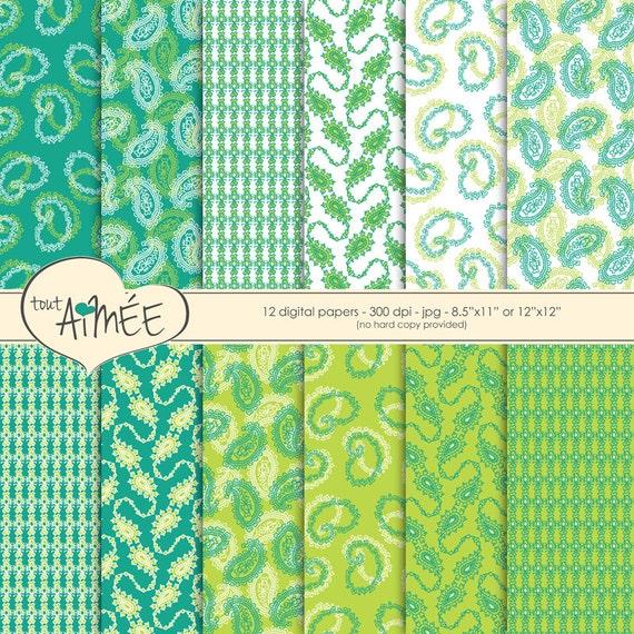 Digital Scrapbooking Paper Paisley Designs In Teal Lime