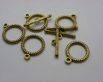 5 clasps 15 mm toggle copper brass Golden round 15 mm