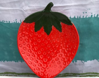 Vintage Strawberry Plate Ceramic Dish Strawberries Vintage