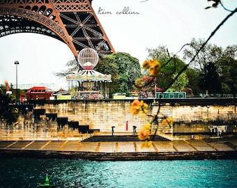 Eiffel Tower along the Seine,Fine Art Photo,Paris,France,multiplesizes available-parisian,Seine, Carousel,Eiffel,Landscape,Architecture