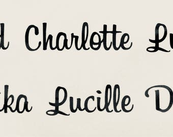 10 x names vinyl sticker names any 10 wine glass champagne flute personalised