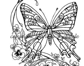 ADULT COLORING PAGE; digital download, butterfly, pansies, garden, nature, wings, pen and ink, from original art,