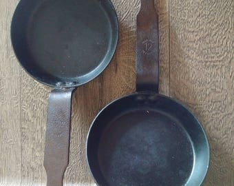 "Two vintage cast iron ""Fabrique en France 12"" mini skillets // gorgeous old iron pans stamped France // pair of French iron kitchenalia"