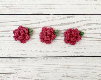 flower crochet motifs | pink crochet flowers | crochet rose flower | crochet appliqués | party decoration | mini crochet flowers