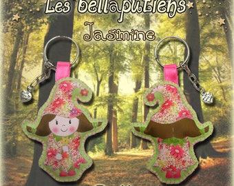 Key chain bag BELLAPUTIENNE 11 cm doll, IMP Jasmine floral print fabric