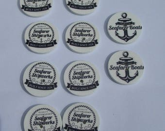 10 wooden buttons, 25mm, Navy