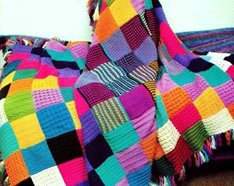 INSTANT DOWNLOAD PDF Knitting Pattern for Squares Patchwork Throw Afghan  Vintage