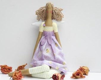 Rag doll, fabric doll, cloth doll Tilda Angel doll stuffed doll lilac purple yellow roses blonde doll Guardian Angel doll, baby shower gift
