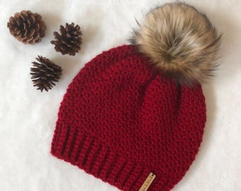 The Crochet Bella Beanie with Faux Fur Pom Pom | Cranberry | Wine